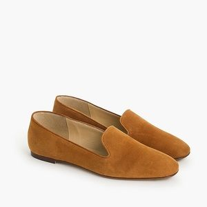 J. Crew Suede Smoking Slippers in Roasted Cider